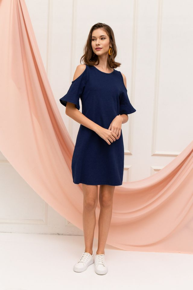 Fiann Cold Shoulder Shift Dress in Denim