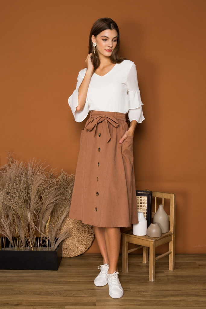 9a13fa1f2 Maeve Suede Button Midi Skirt in Russet