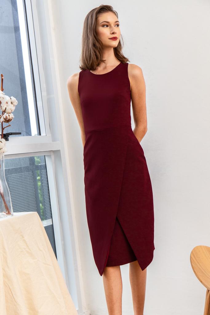 dbe90eff5e6c Allina Faux Wrap Midi Dress in Wine Red