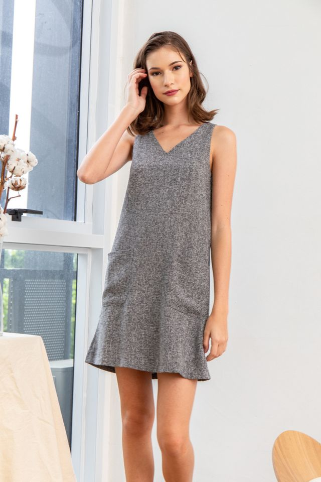 Dassa Tweed Pocket Shift Dress in Grey