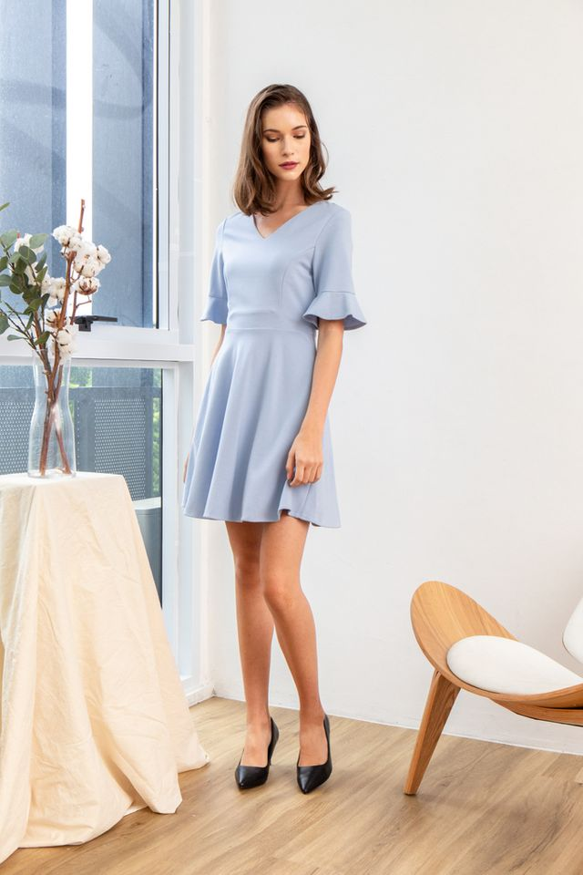 Verene Ruffled Sleeves Skater Dress in Sky Blue (XS)