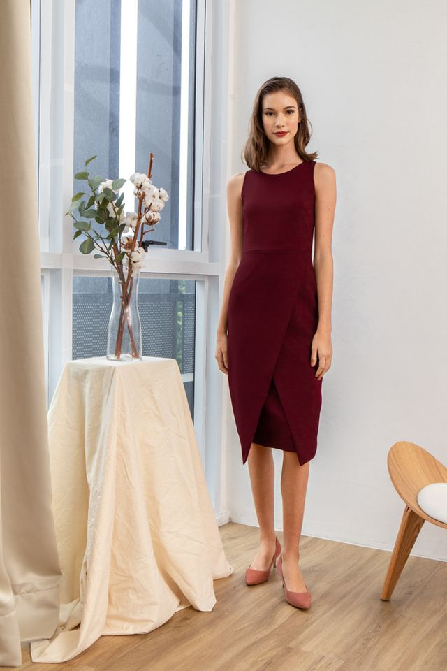Allina Faux Wrap Midi Dress in Wine Red