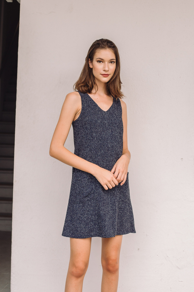 Dassa Tweed Pocket Shift Dress in Navy