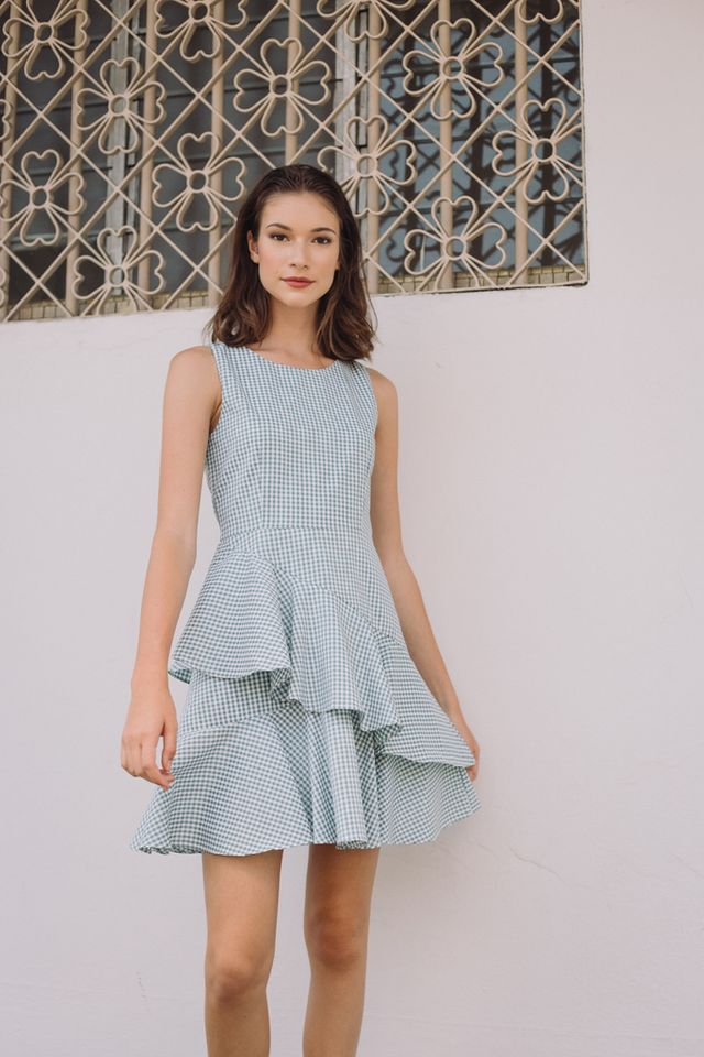 Loella Gingham Ruffles Dress in Green
