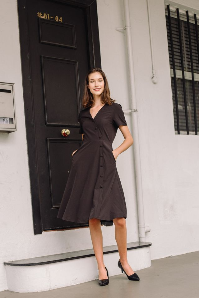 Sophil Faux Wrap Button Midi Dress in Black