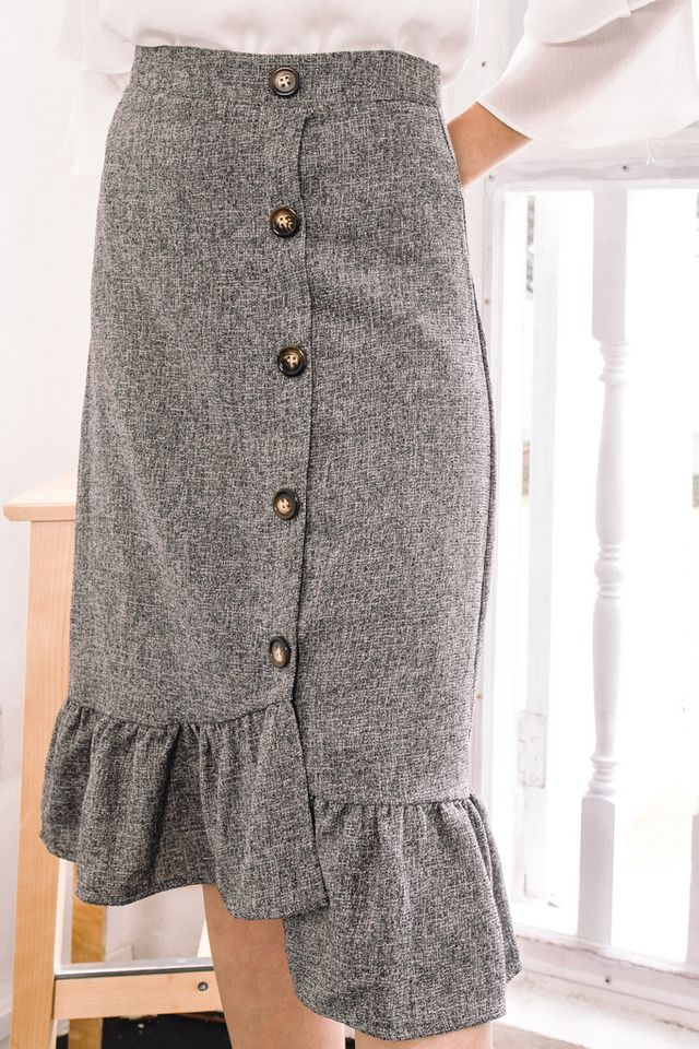 Agata Tweed Midi Skirt in Grey