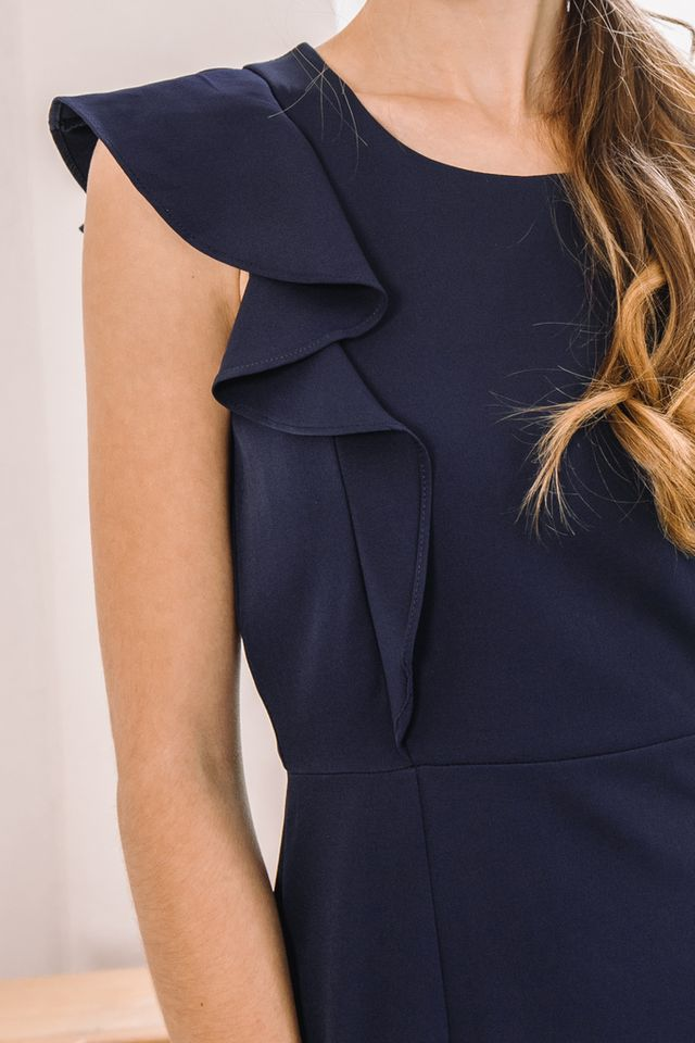 Cielle Ruffles Midi Dress in Navy