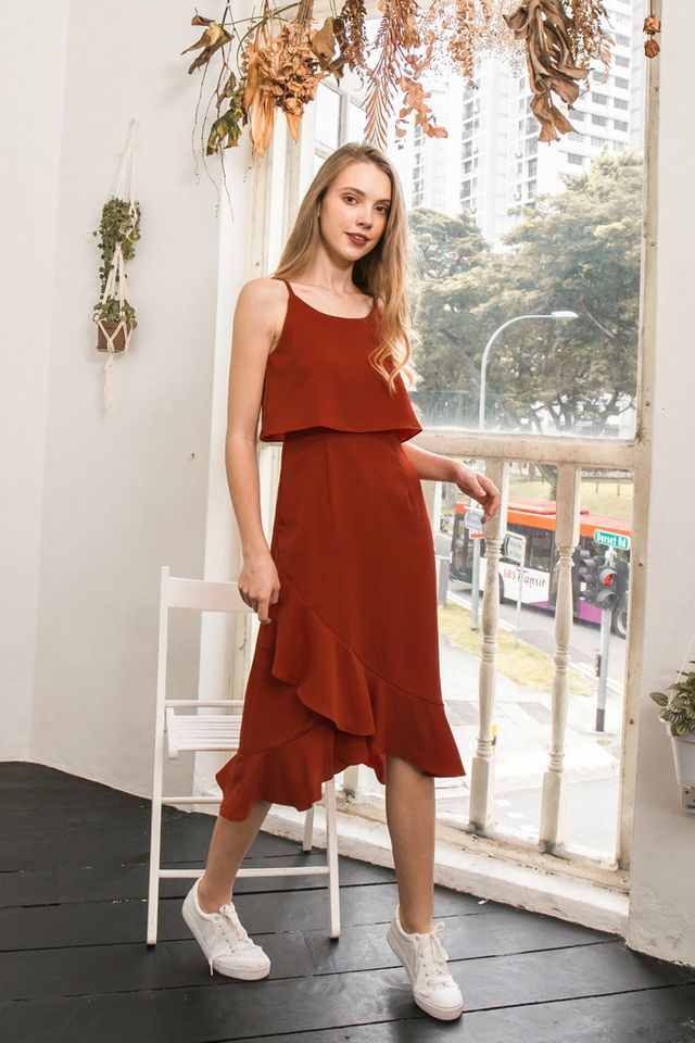 Keyla Layered Ruffles Dress in Burnt Orange