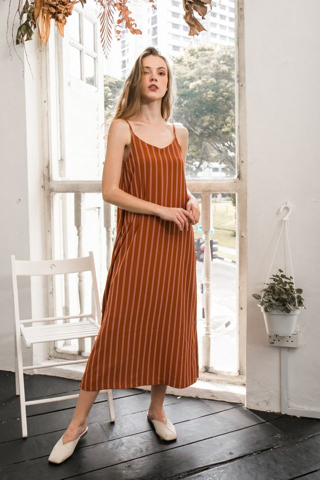 Tallie Striped Maxi Slip Dress in Caramel
