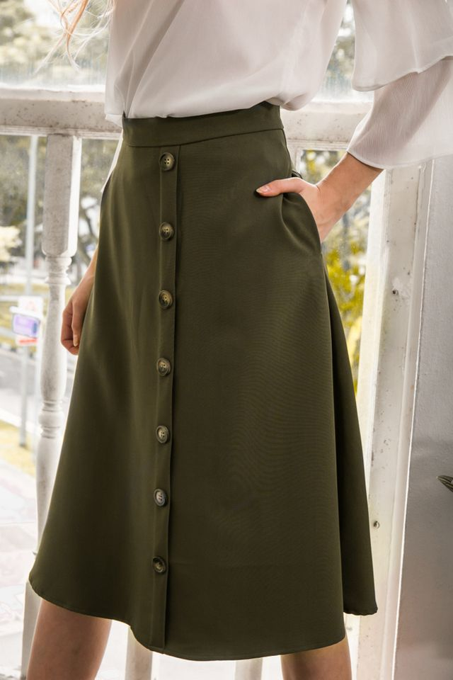 Ryth Button Midi Skirt in Olive
