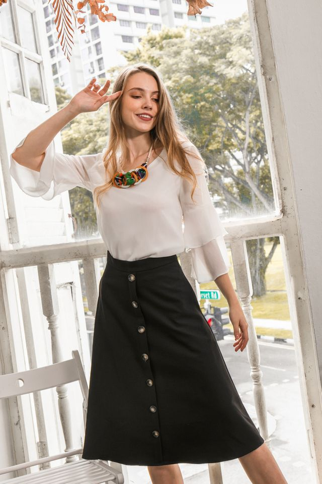 Ryth Button Midi Skirt in Black