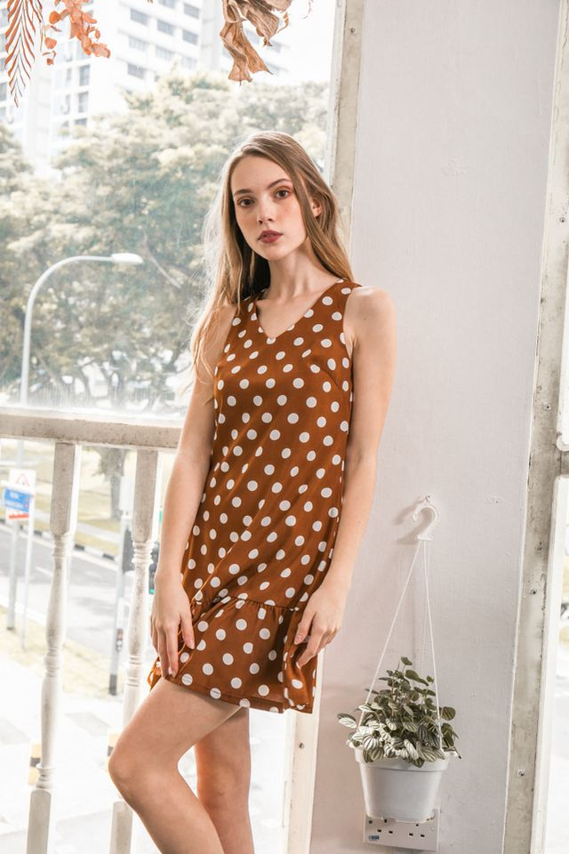 Cosetta Polka Dot Dropwaist Dress in Brown