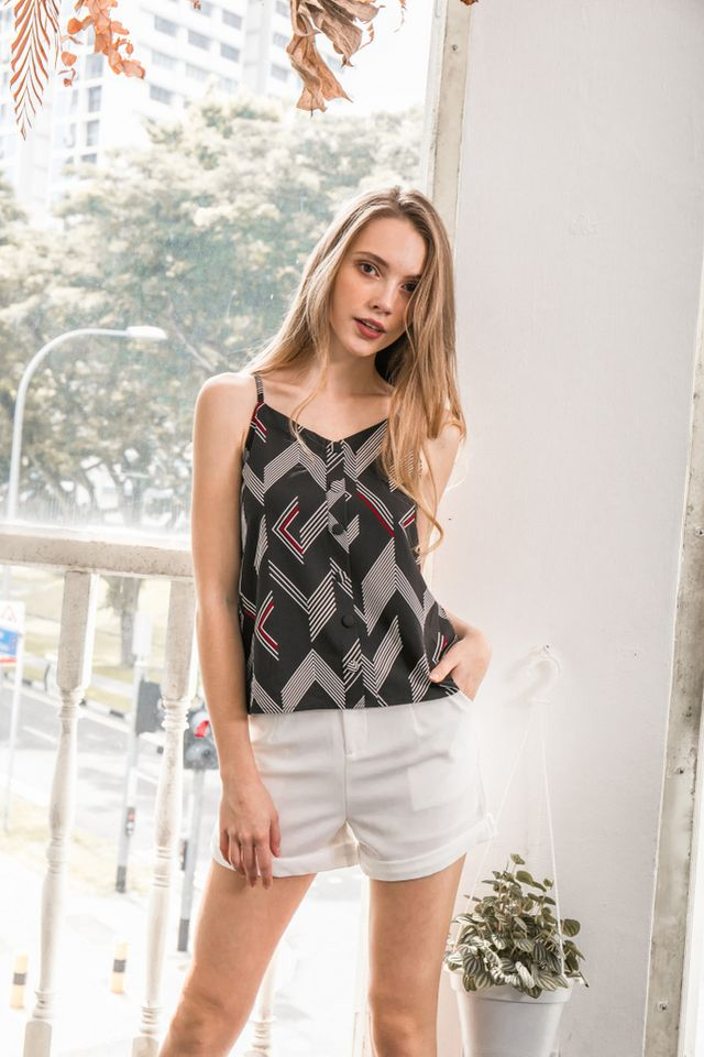 Zana Geometric Button Top in Black