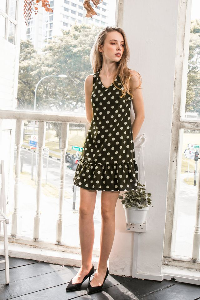 Cosetta Polka Dot Dropwaist Dress in Olive