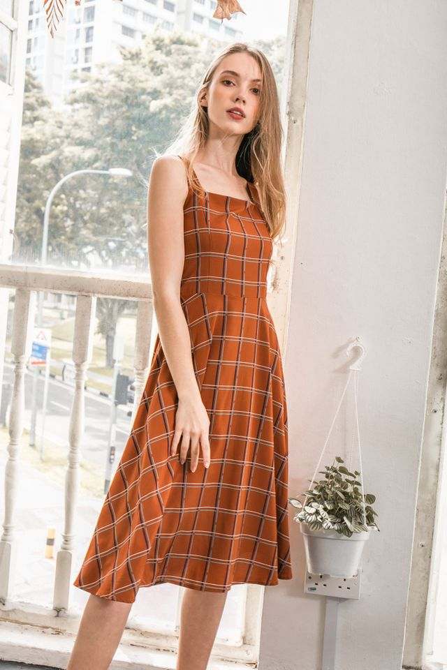 Shaelynn Plaid Midi Dress in Camel