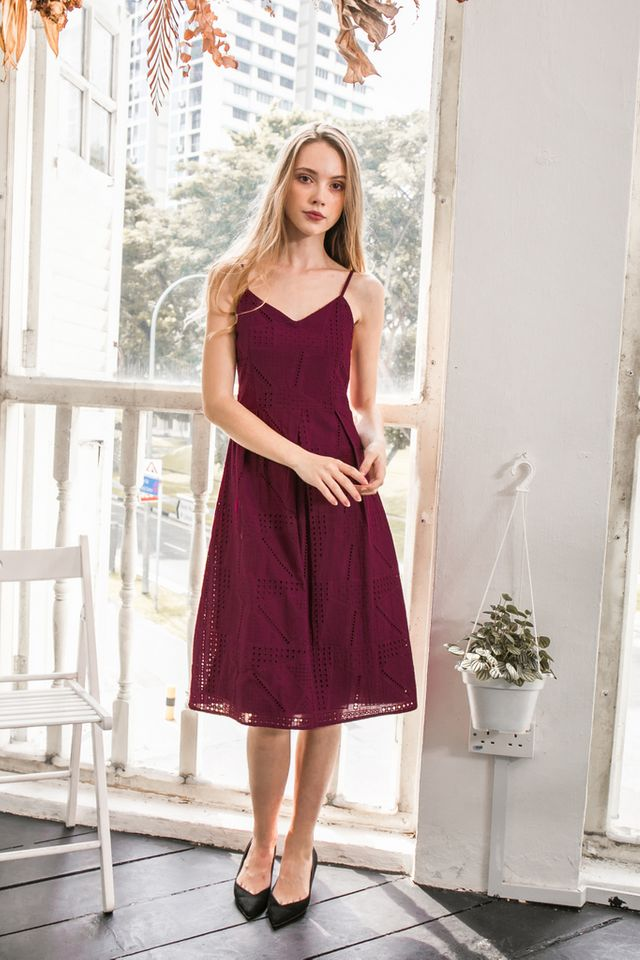 Florent Eyelet Midi Dress in Plum