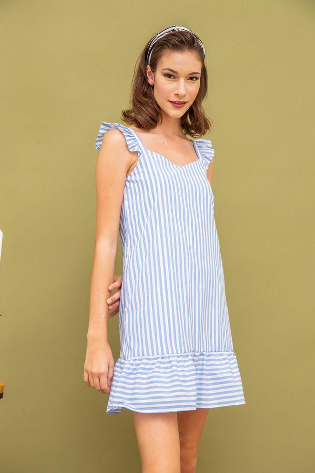 Pamelia Striped Ruffles Dress in Blue (XS)