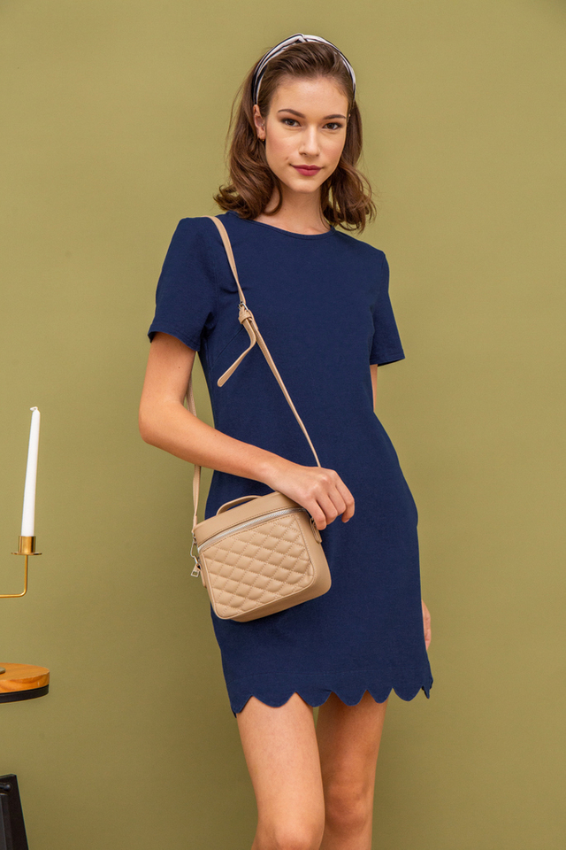 Alida Structured Quilted Bag in Oat