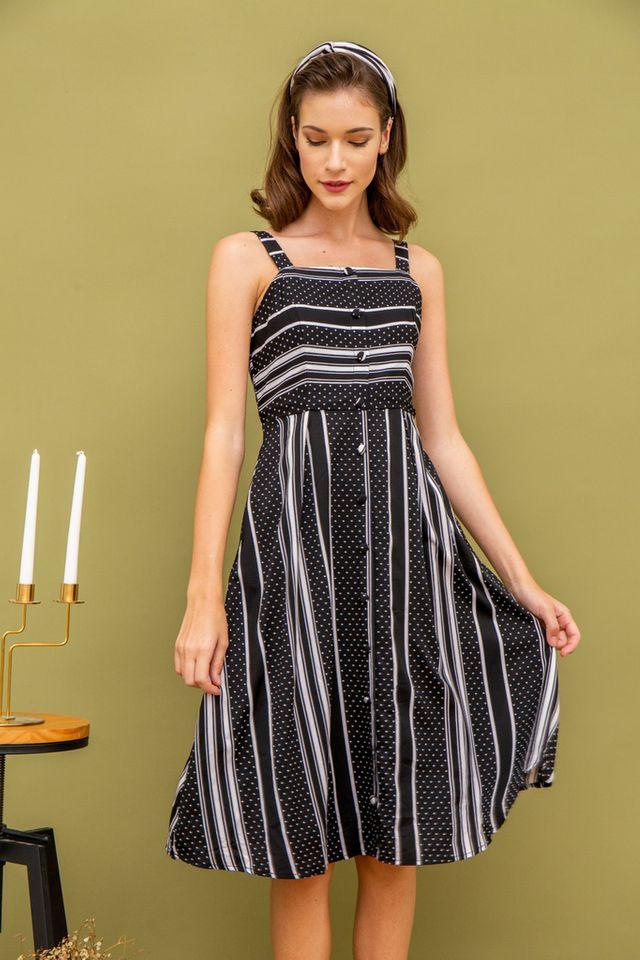 Tyn Stripe & Dots Midi Dress in Black (XS)