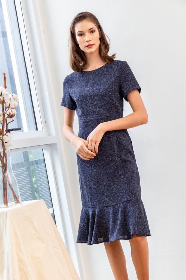 Valida Tweed Ruffles Midi Dress in Navy