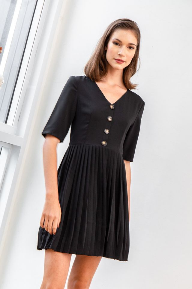 Madie Button Pleated Dress in Black