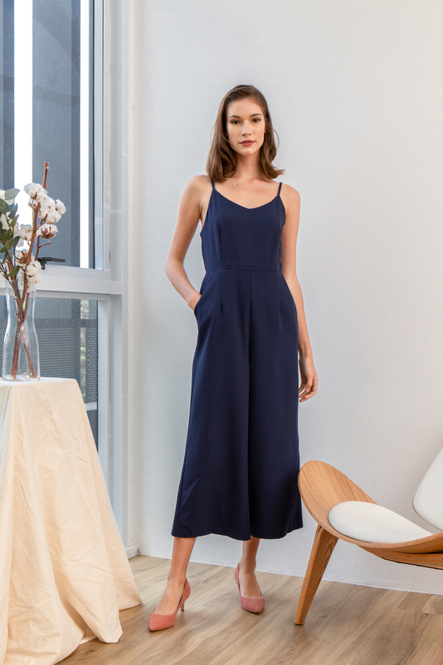 Aniel Basic Wide Leg Jumpsuit in Navy