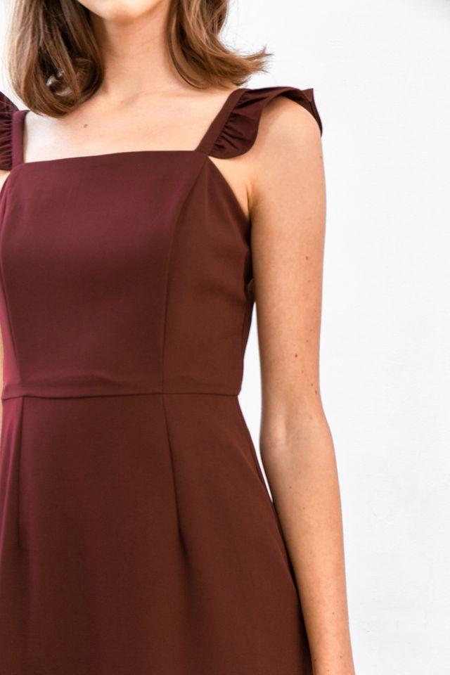 Emila Ruffled Straps Midi Dress in Wine Red