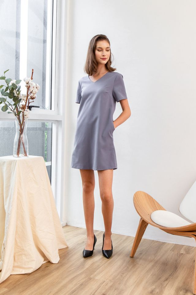 Kene Basic Shift Dress in Lavender Grey