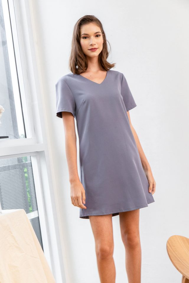 Kene Basic Shift Dress in Lavender Grey