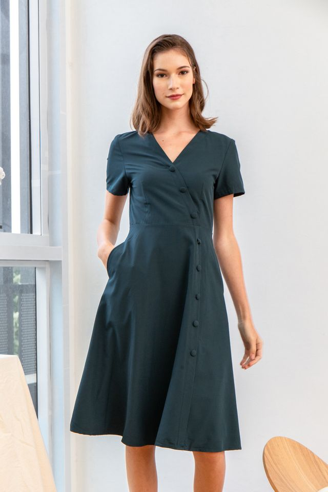 Sophil Faux Wrap Button Midi Dress in Teal (XS)