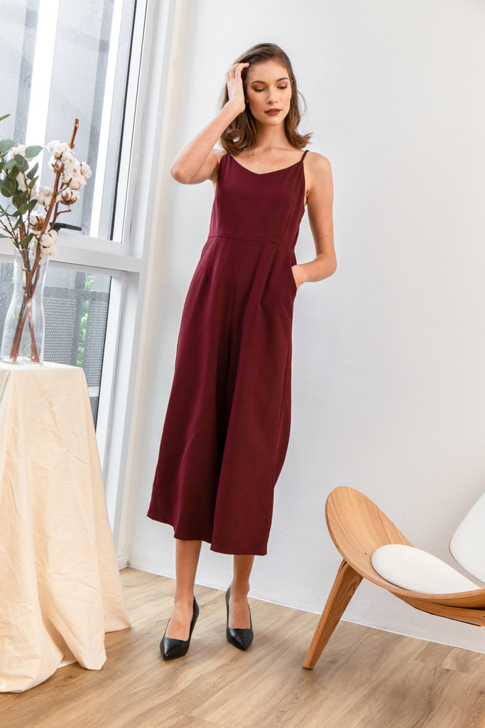 8369d4c56ff2 Aniel Basic Wide Leg Jumpsuit in Wine Red