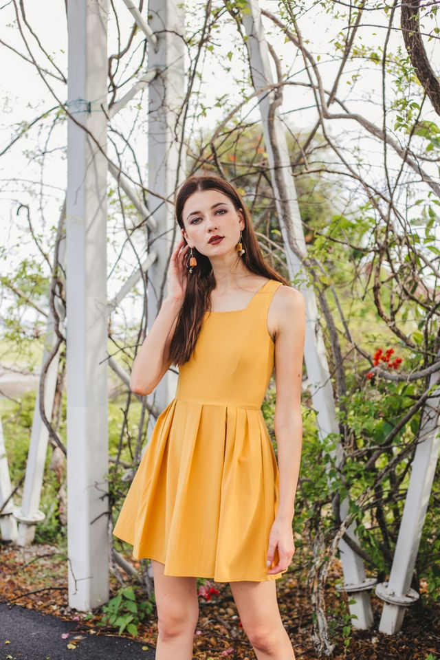 Liesel Pinafore Dress in Mustard