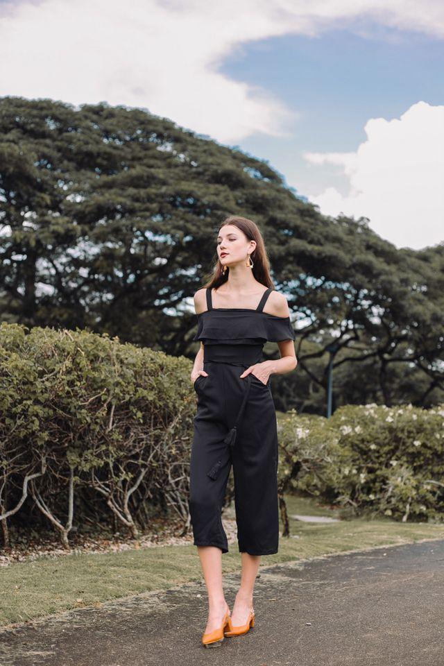 Fiorella Cold Shoulder Jumpsuit in Black