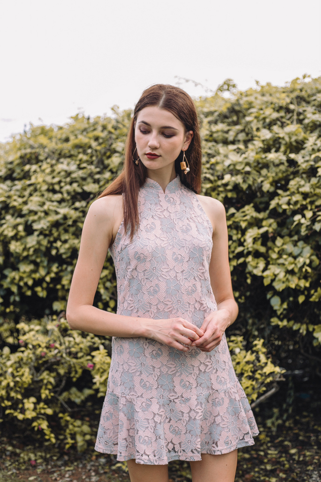 Racia Lace Cheongsam Dress in Grey