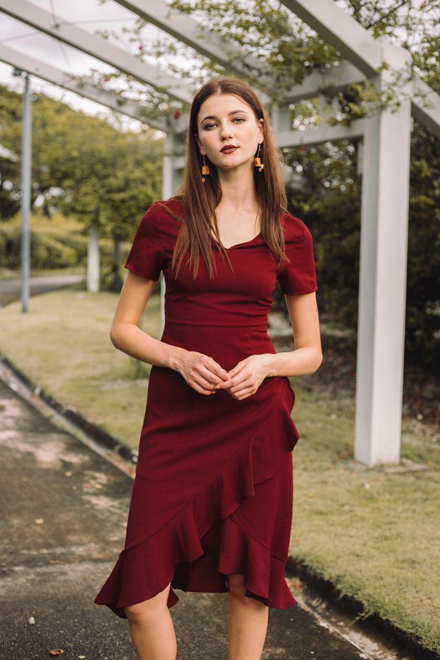 Eleonara Asymmetrical Ruffles Dress in Maroon
