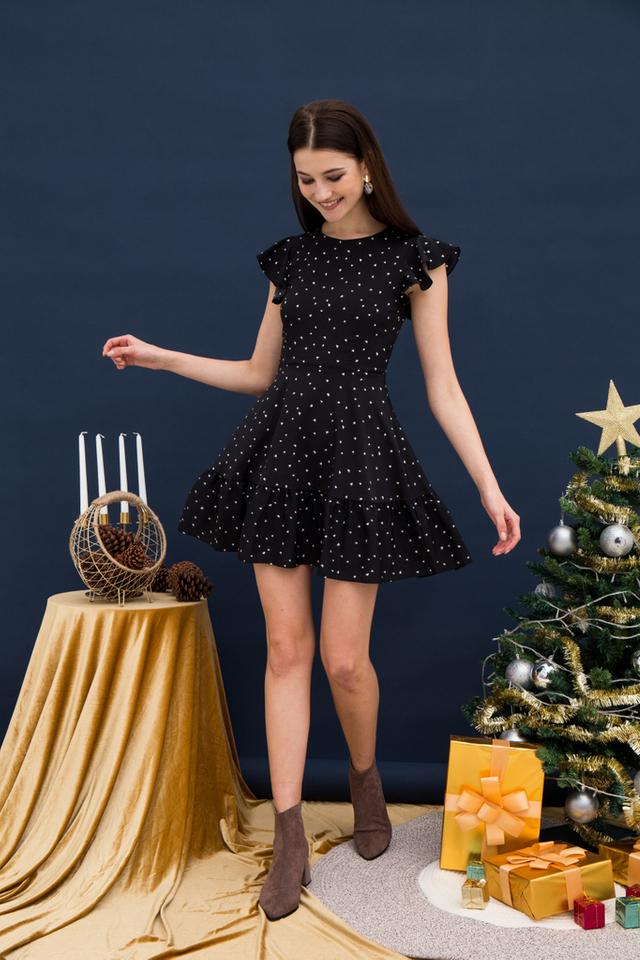 Claretta Heart Ruffles Dress in Black