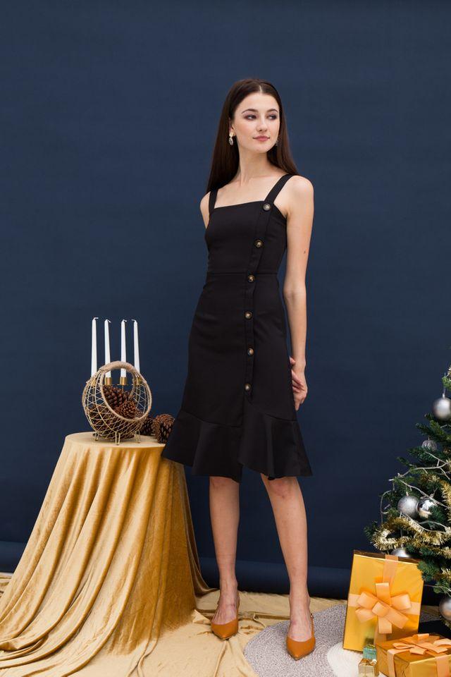 Daphine Asymmetrical Midi Dress in Black