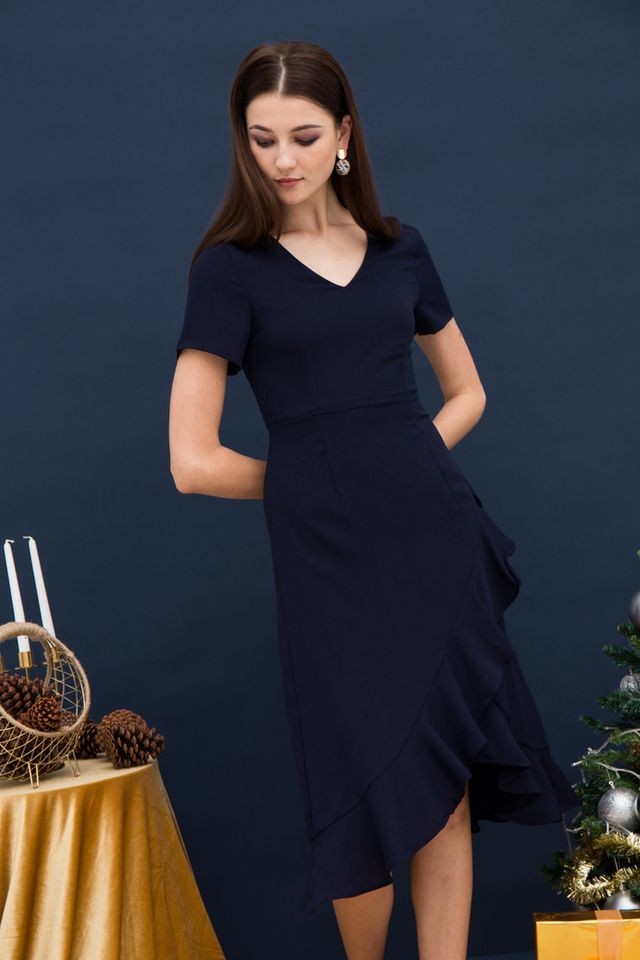 Eleonara Asymmetrical Ruffles Dress in Navy