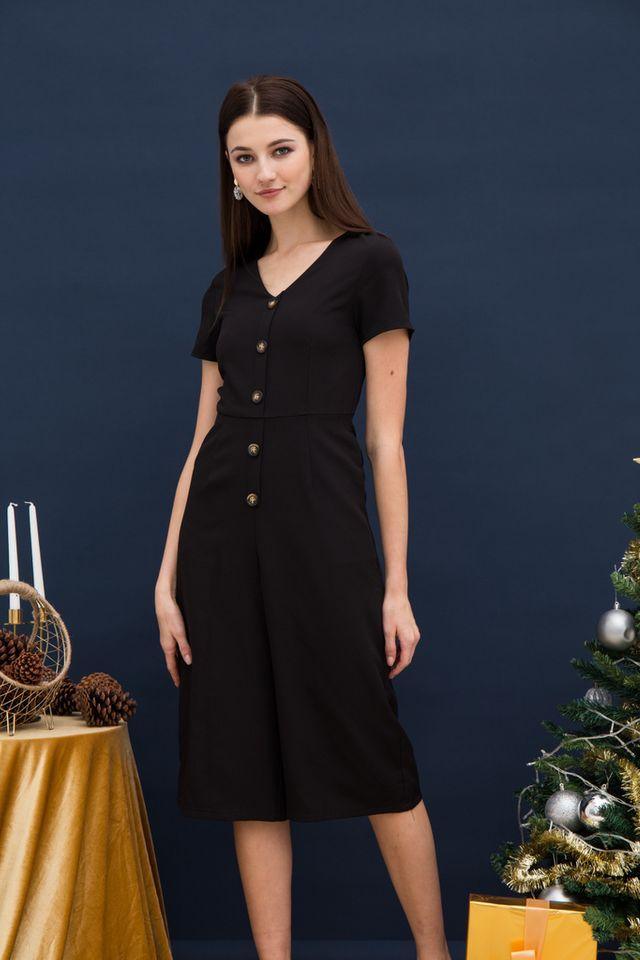 Rochella Button Jumpsuit in Black