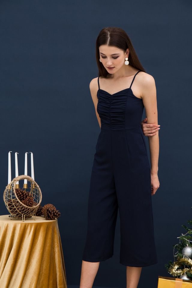 Chiara Gathered Top Jumpsuit in Navy