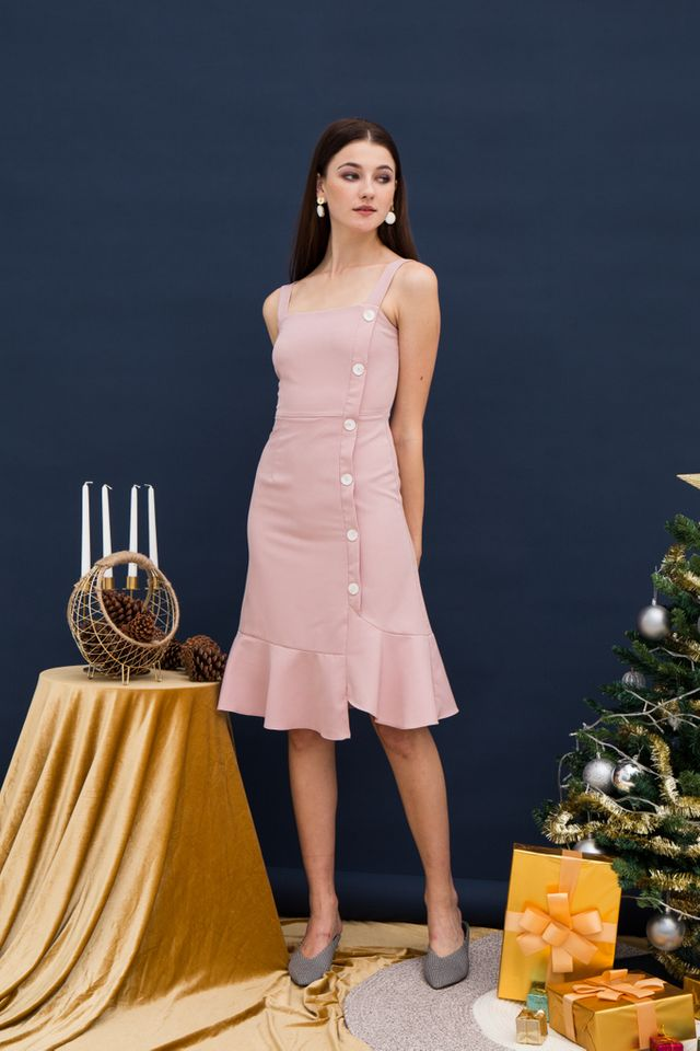 Daphine Asymmetrical Midi Dress in Dusty Pink