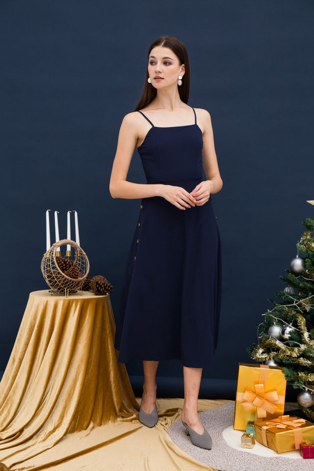 Laelia Side Button Midi Dress in Navy