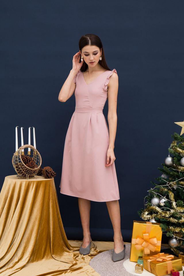 Loreila V-neck Midi Dress in Pink