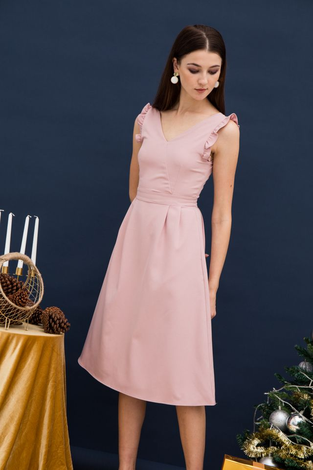 Loreila V-neck Midi Dress in Pink