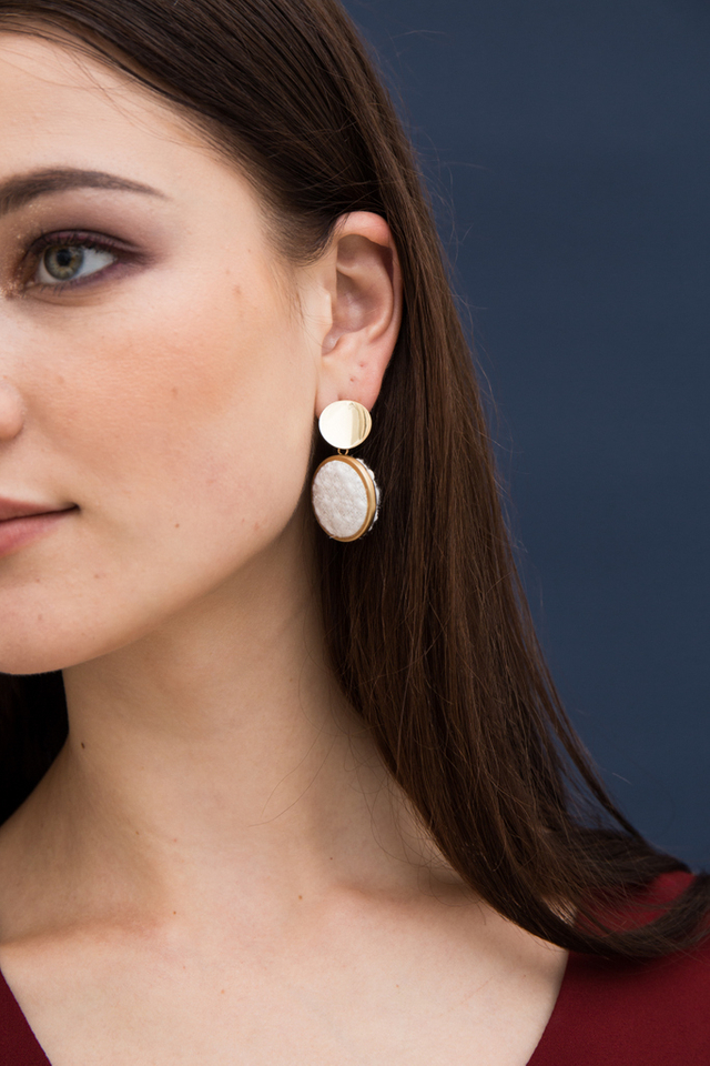 Jenai Fabric Stud Earrings in White