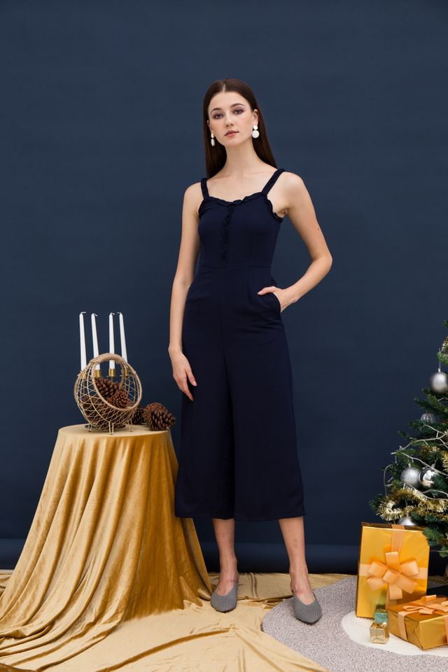 Iliana Ruffles Wide Leg Jumpsuit in Navy