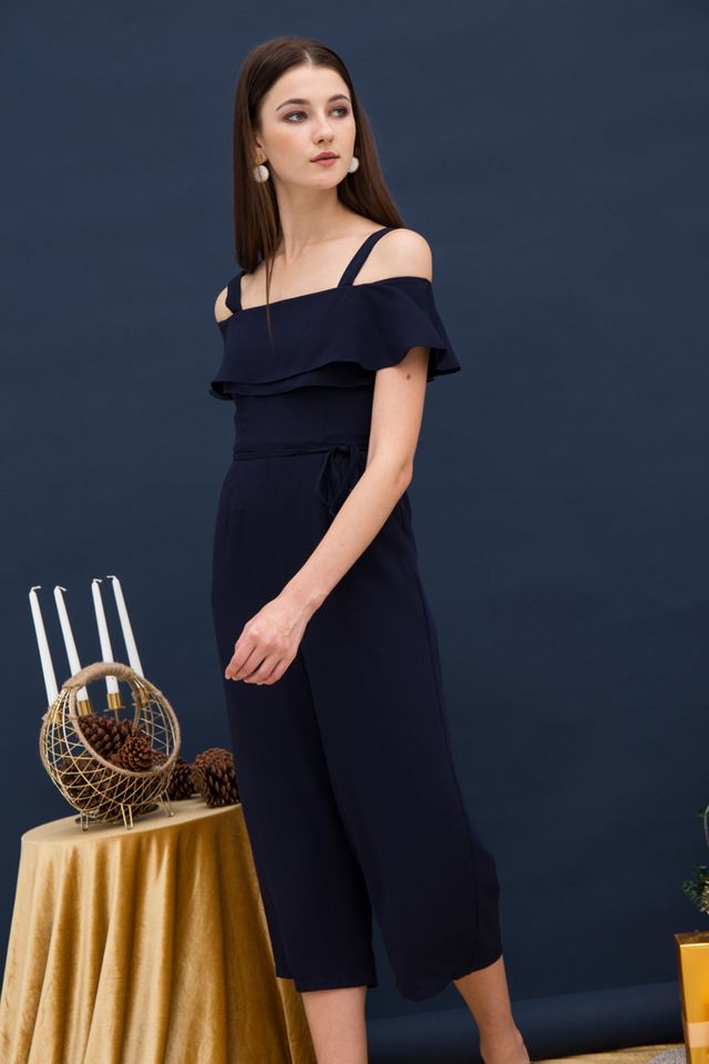 Fiorella Cold Shoulder Jumpsuit in Navy (XS)