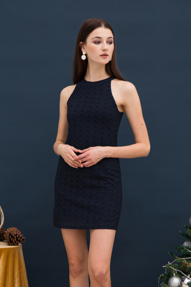 Mayra Eyelet Halter Dress in Navy