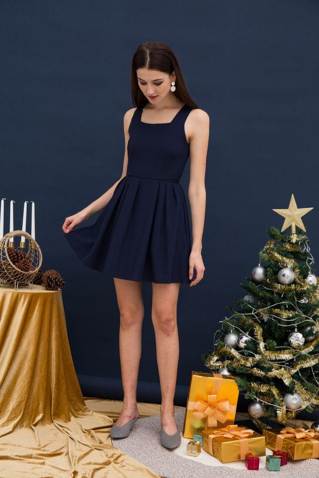 Liesel Pinafore Dress in Navy