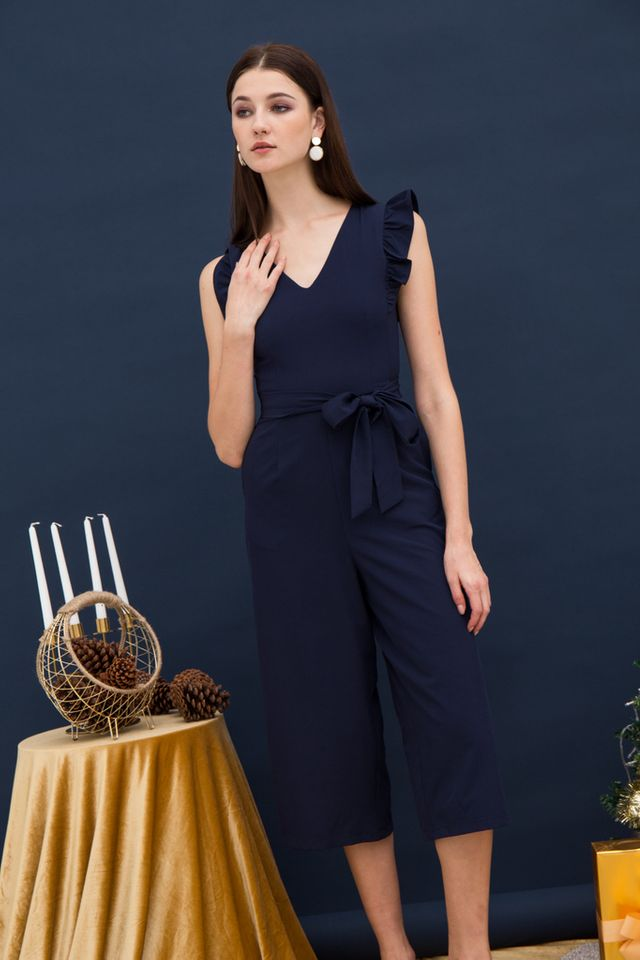 Cierra Ruffle Sleeves Jumpsuit in Navy (XS)
